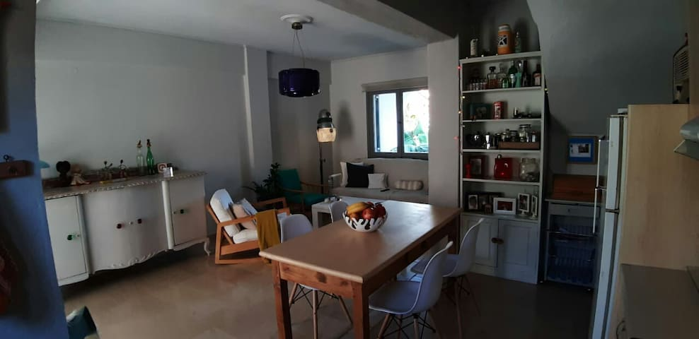 The dining room/kitchen