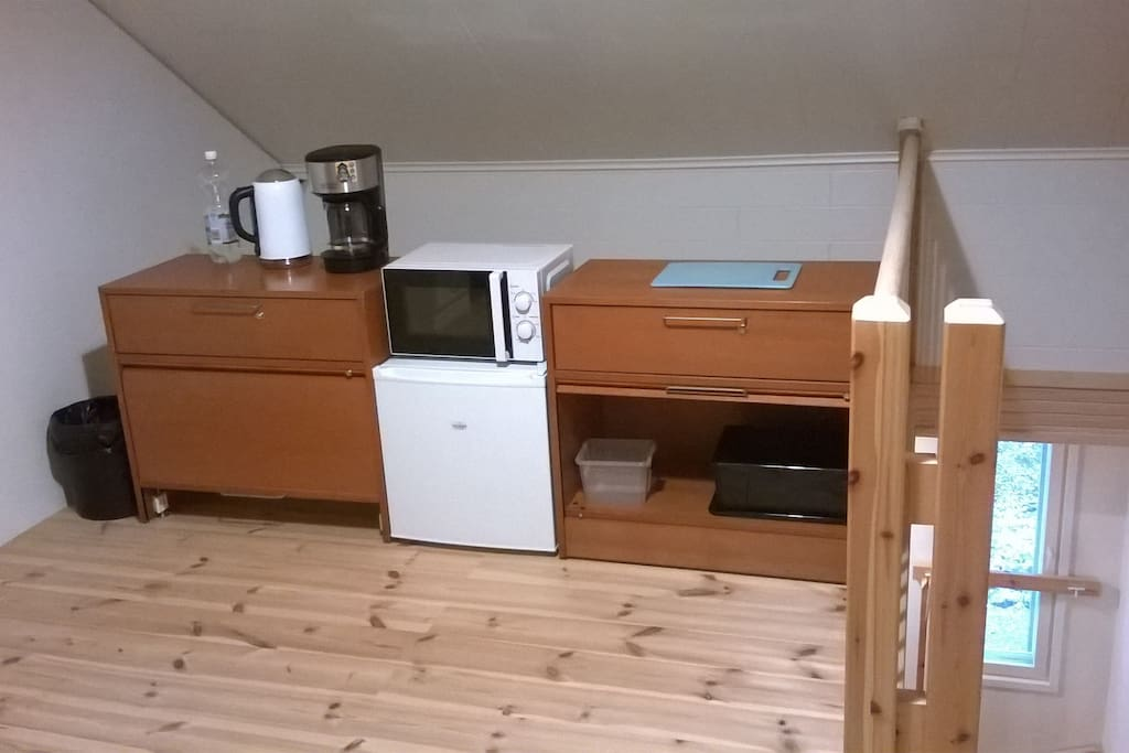 Common room: water-kettle, coffee-maker, microwave and fridge.