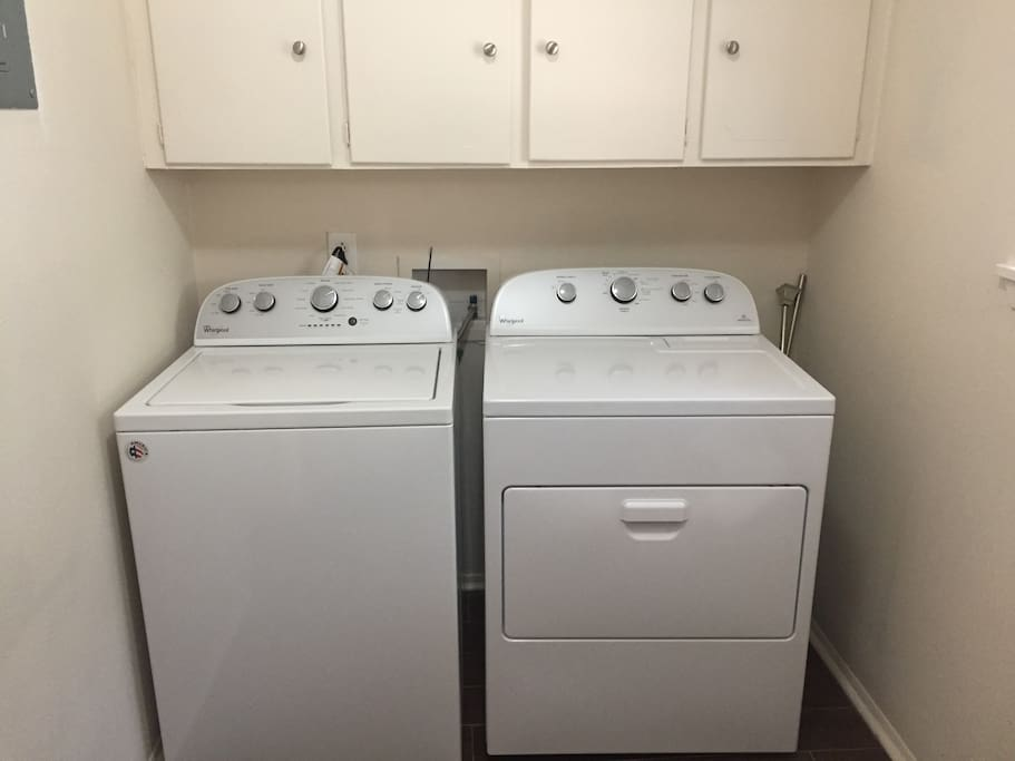 Washer and dryer for guest convenience.