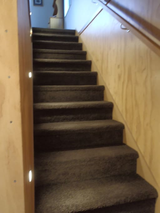 Lighted easy stairs with handrail