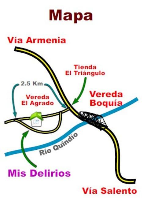El alojamiento esta ubicado a 6 km antes de llegar a Salento en el sector de boquia, vereda el Agrado.