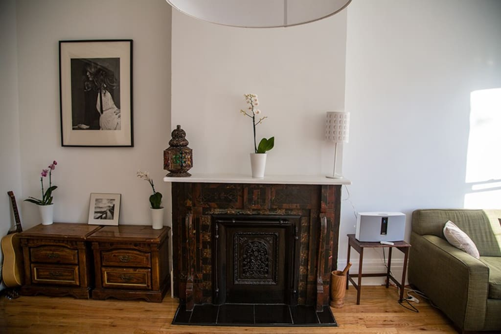 Living room fireplace with a Bose SoundTouch music system