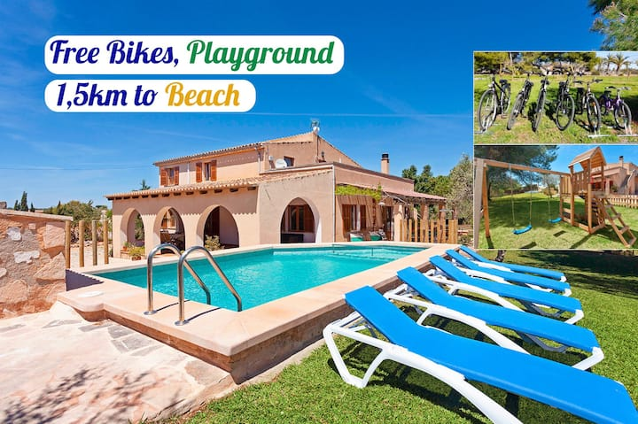 Great Villa. 1'5km to Es Trenc beach. Free bikes