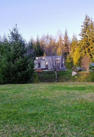 View of Tiny Home from lower area of property.