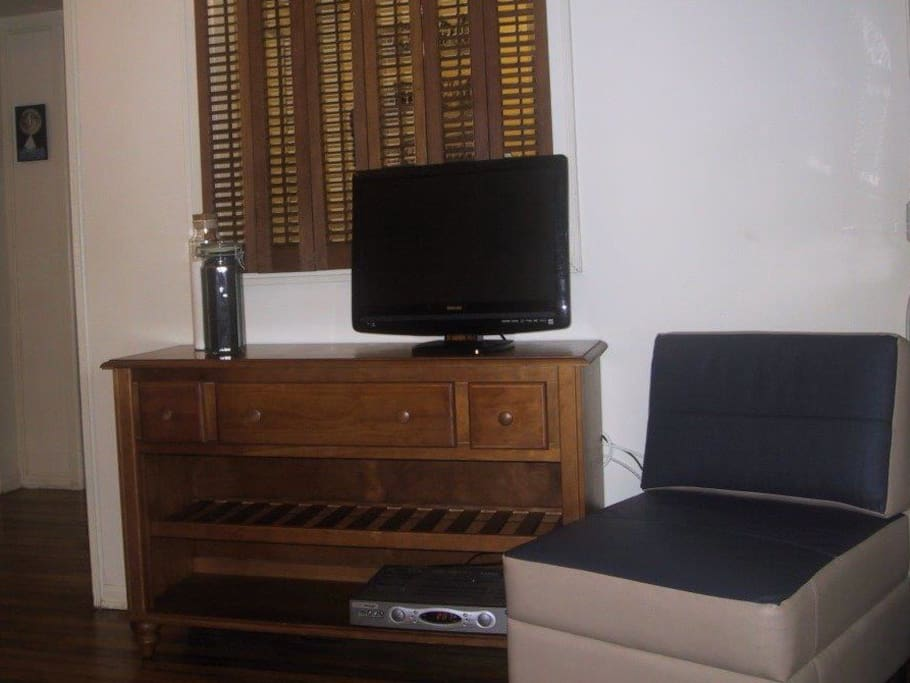 Flat screen TV with cable channels and Free WiFi