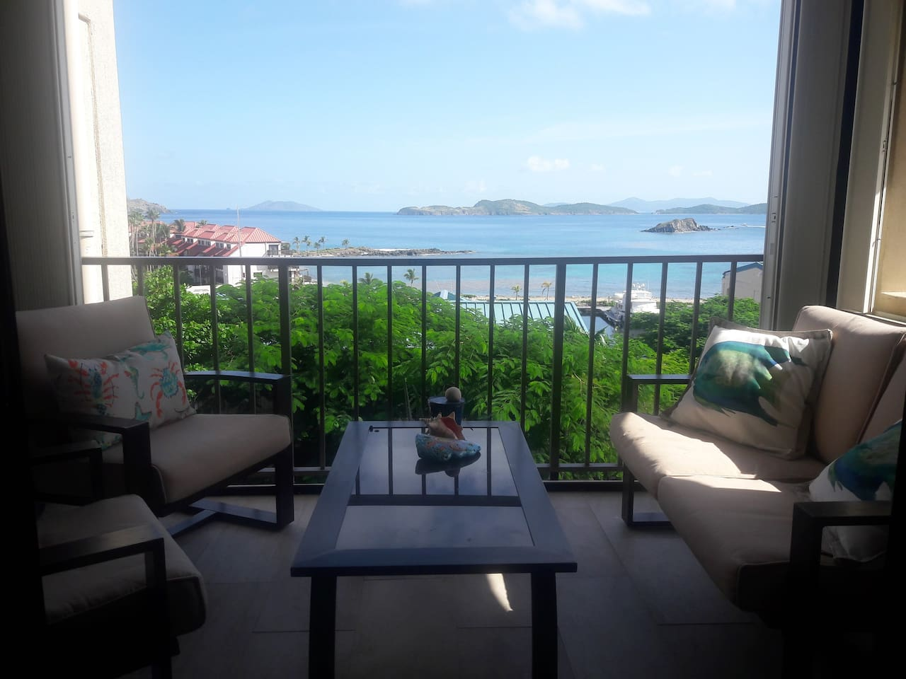 Vacation at our beautiful east end condo overlooking St. John and the British Virgin Islands.