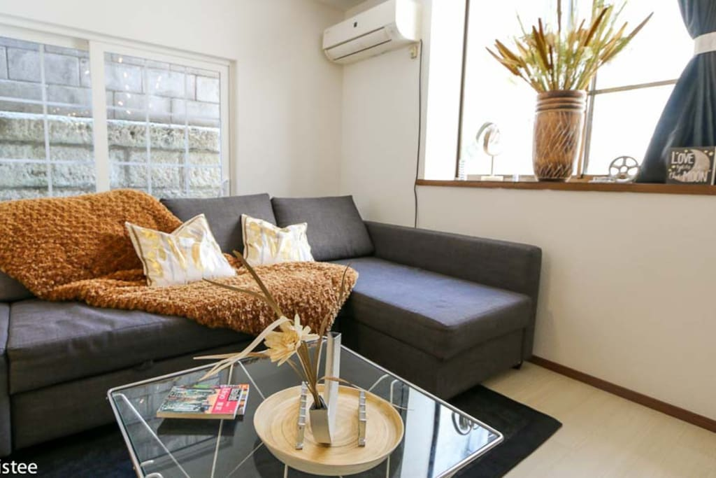 A spacious and comfortable living room equipped with a sofa-bed and TV.
