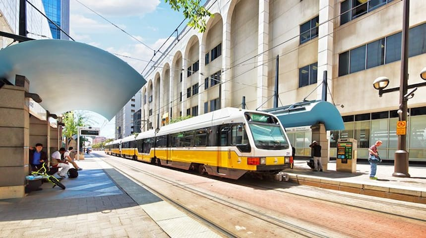 Train is Located one block from the apartment literally . Walk score is 96! Tons of Bars and restaurants in walking distance