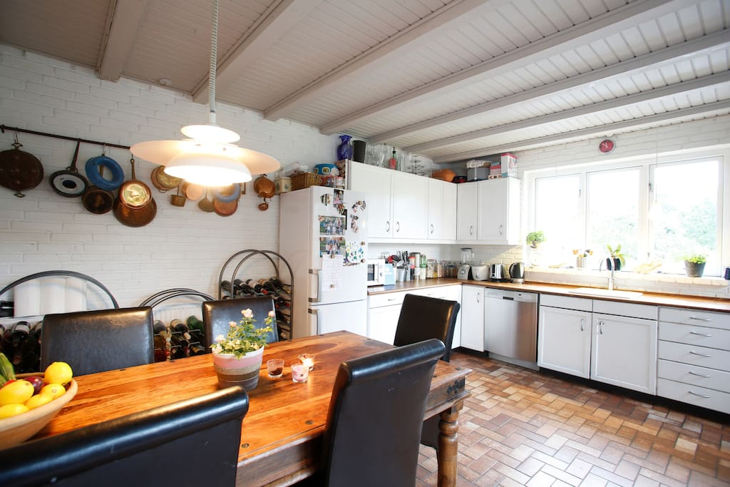 Our fully equipped kitchen with the dining area.