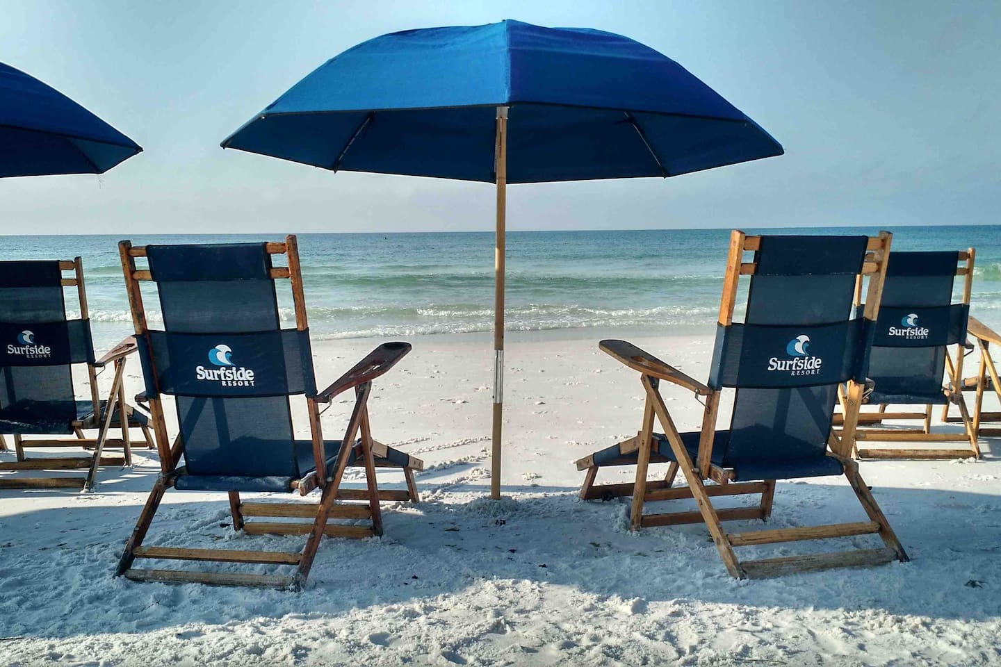 Chair and umbrella service available for rent.