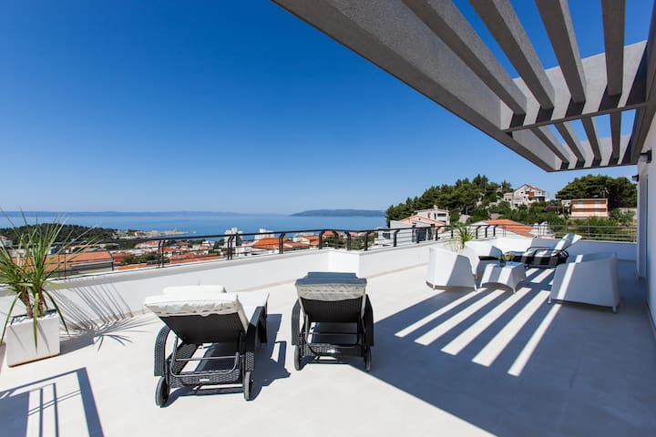 Terrace on the penthouse floor and the view from it