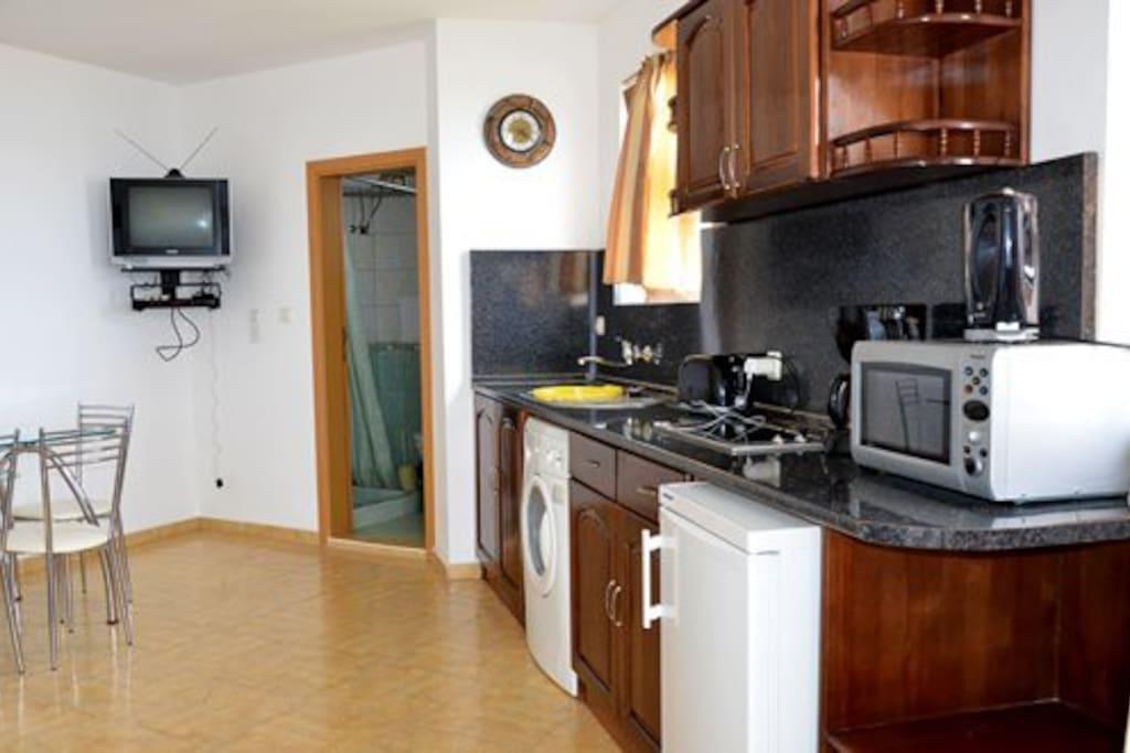 холл с кухней, талет с душем диван раздвижной на 2 чел и выход на террасу с видом на море