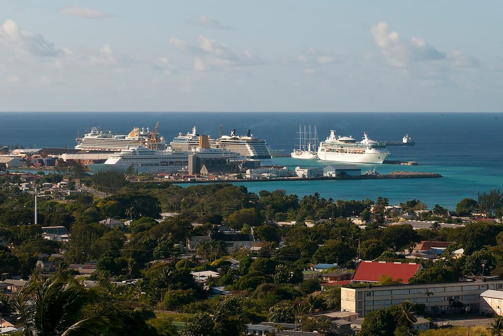 View of cruise port from property