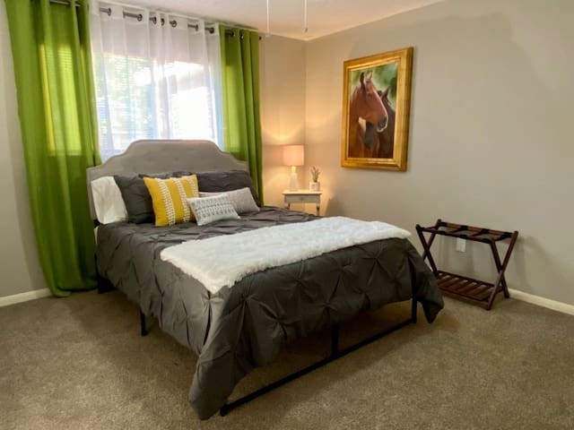 The Green Room with Queen Bed, Closet and luggage Rack