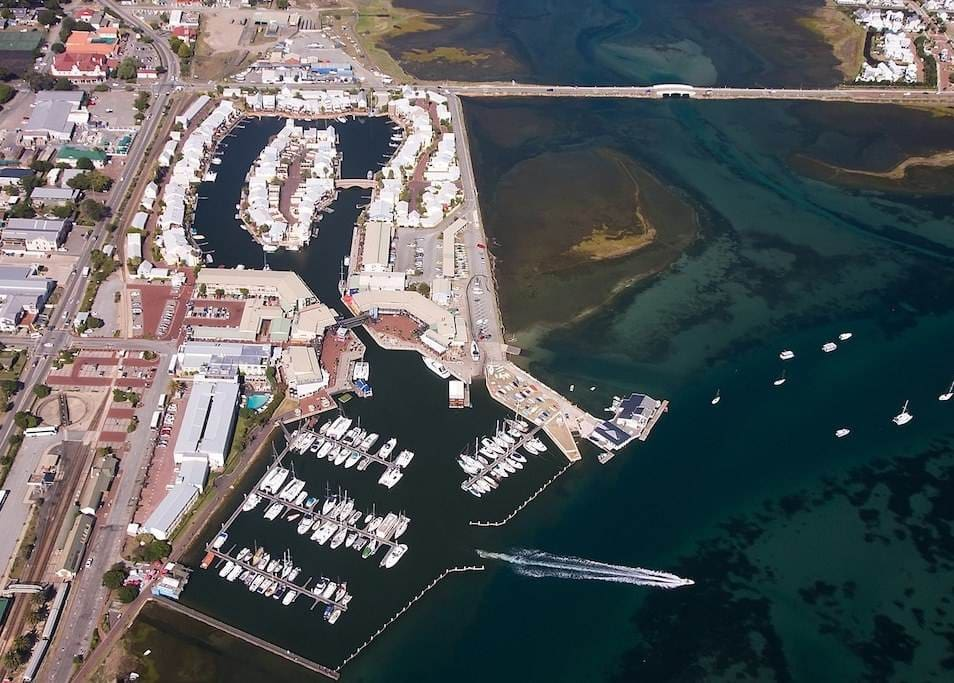 Aerial view of Knysna Quays, Waterfront and yacht harbour