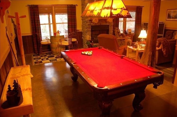 The Billiard Room and connected Family Room with big-screen TV