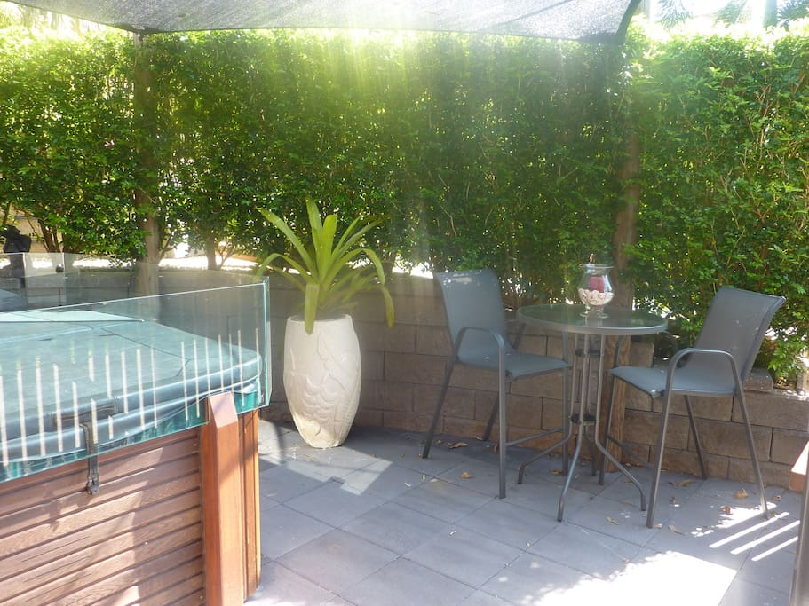 Spa outdoor seating and BBQ
