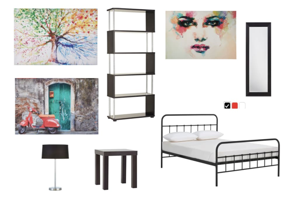Bedroom Furniture - each room has the same basics with different art (when I finish assembling the flat packs!)