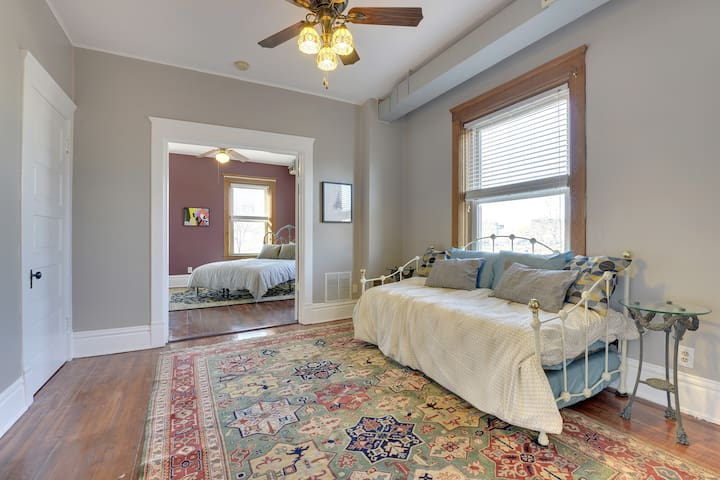 Between the living room and master bedroom is a walk-through office. (not quite a bedroom)  It's a good spot for your laptop (free WiFi) and features a twin day bed with a bonus twin bed that rolls out below.