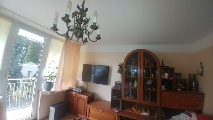 Słoneczny pokój z balkonem