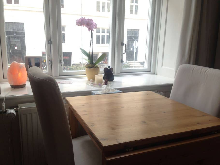 Dinning table with view of the quite street
