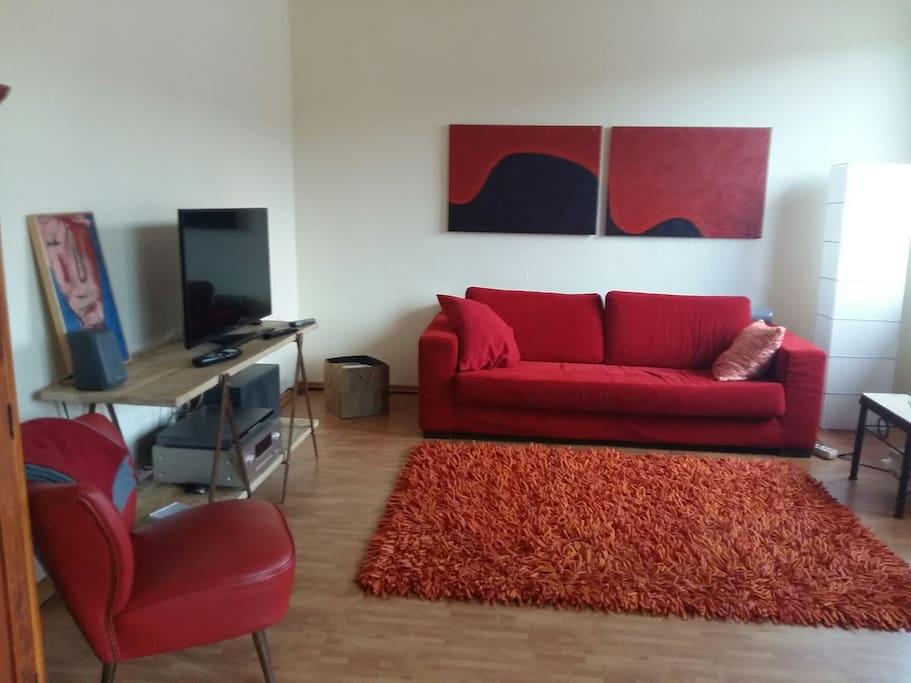 Livingroom, where you sleep and live.