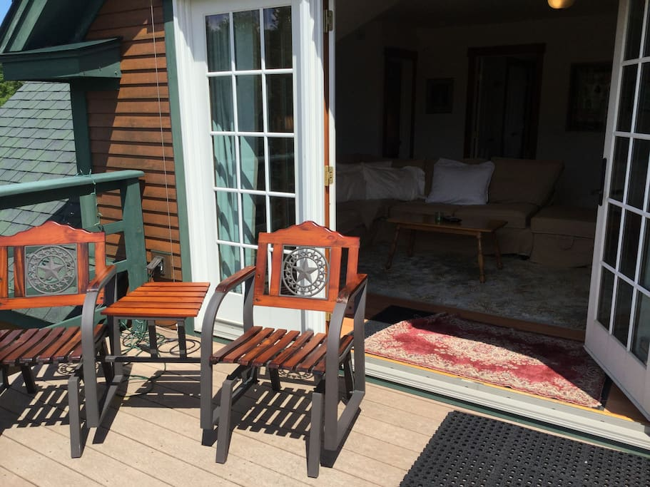 """Private Entrance and Deck with Double French Doors """"Open Up the Sky"""" (and Star Gazing!)"""
