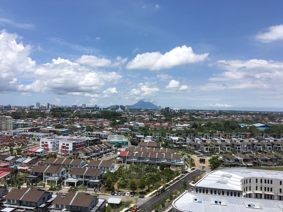 Blue sky and Mount Santubong from afar