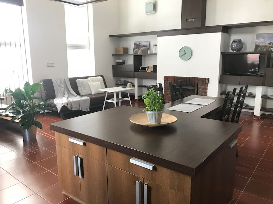 Kitchen island, dining and living area
