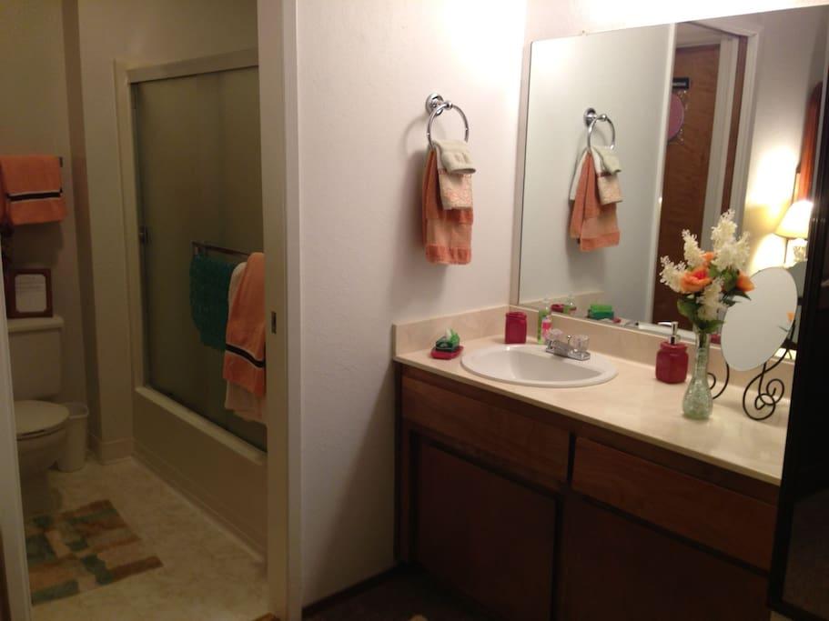 On suite bath- room
