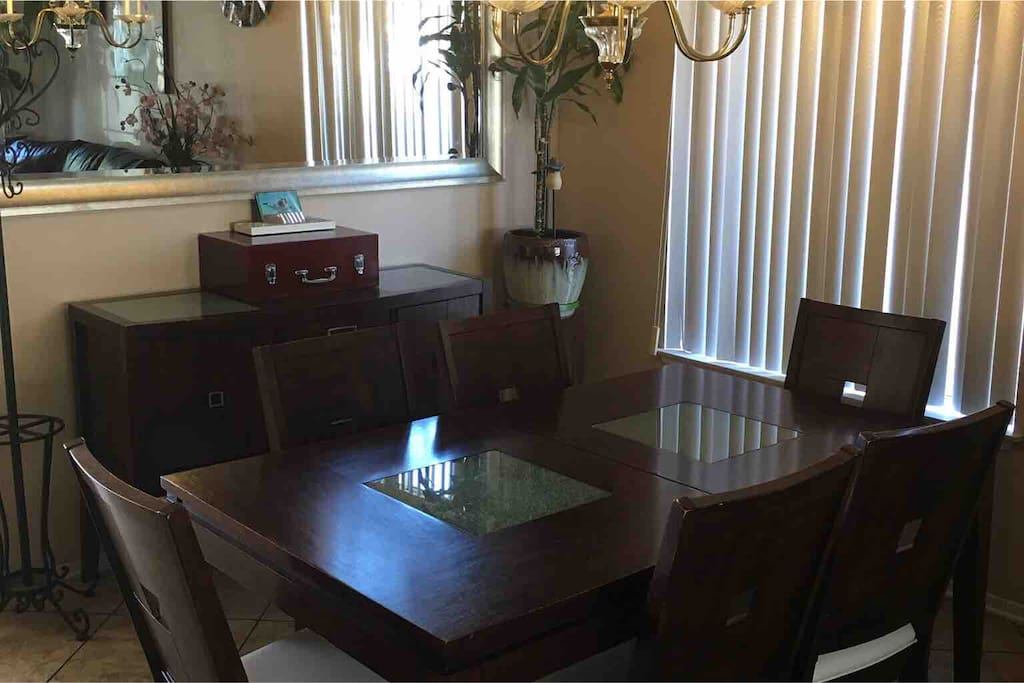 Dining room with buffet table  and dining table with 6 solid chair