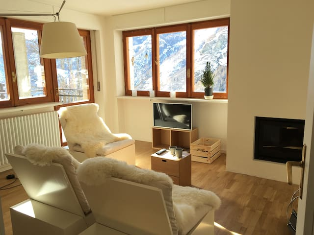 Bright and spacious apartment with fireplace!