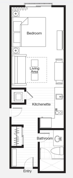 Room layout.  Option for 2 Queens.