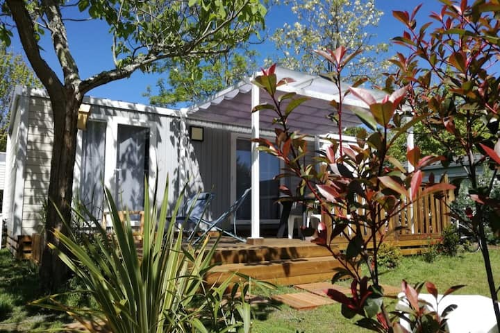Superbe mobil-home bord lac BISCARROSSE Camping 4*