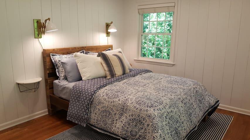 Bedroom #2: West elm Reclaimed Wood Queen bed