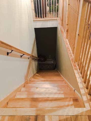 Stairs from entrance to studio