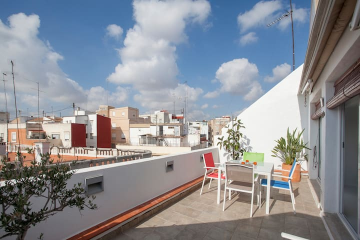 CENTRAL PENTHOUSE LOFT - SUNNY TERRACE - WIFI - València