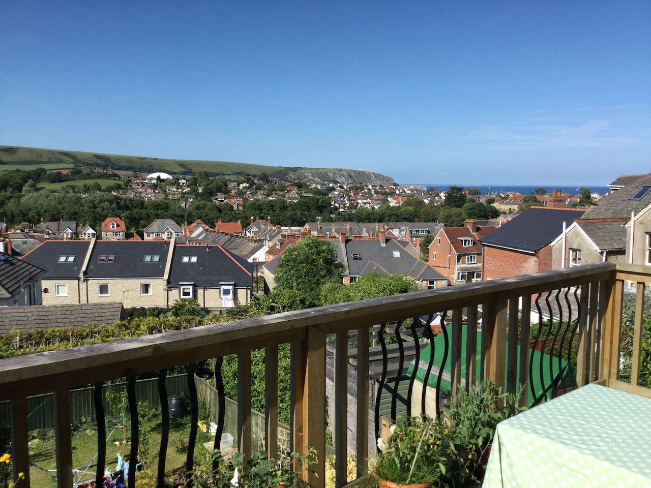 View from the balcony over the town and Swanage bay