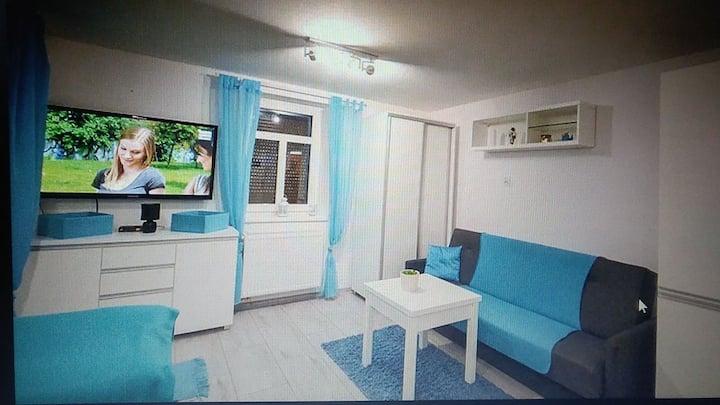 Wyposażony i komfortowe mieszkanie z ogrodem.