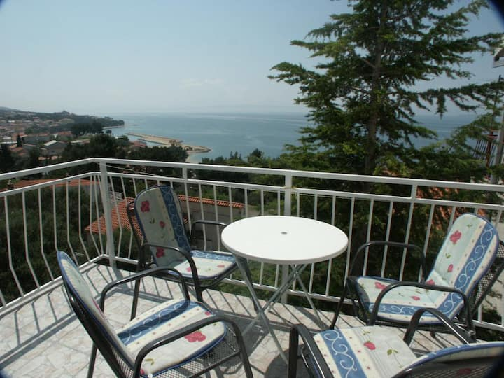 One bedroom apartment with terrace and sea view Baška Voda, Makarska (A-300-c)