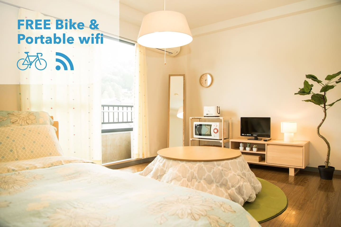 Small cozy room 301 walk 7m to Gion + Pocket wifi. The room size is 15 square meters. There's a double bed(140/200cm) and a mattress(single).