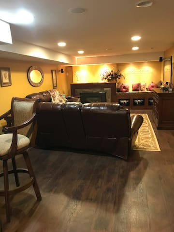 Comfortable semi-private living on lower level