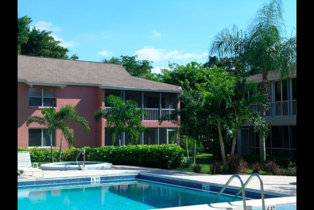 6 small 4-unit buildings around the pool, + 2 more 4-unit buildings