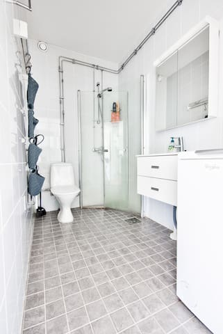 The bathroom is quite spacious compared to the size of the apartment.