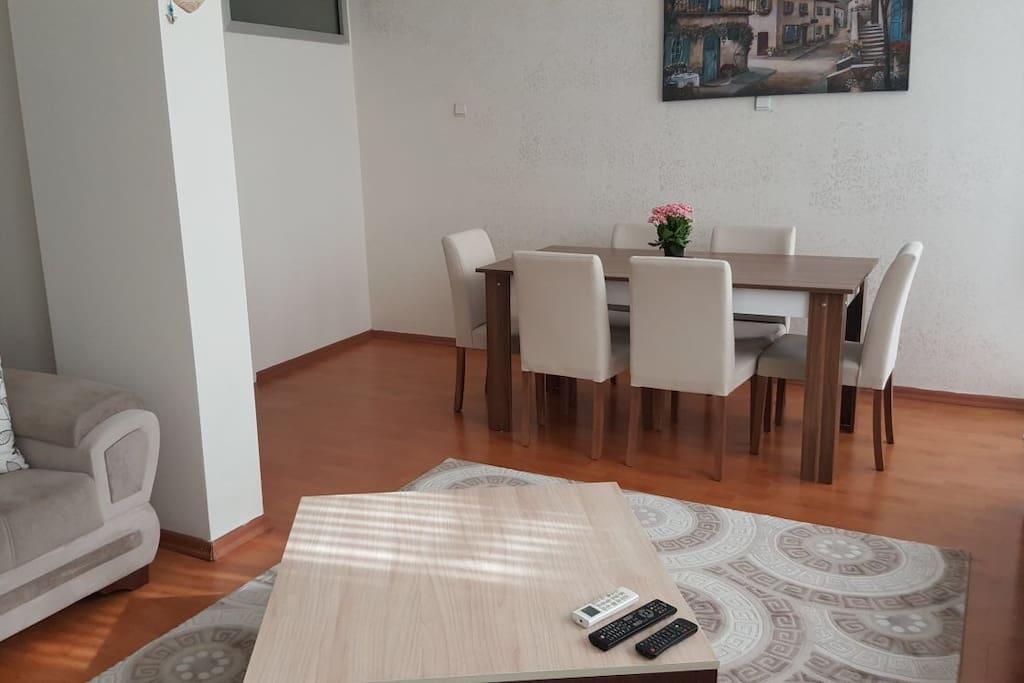 Salon ve yemek odası bir