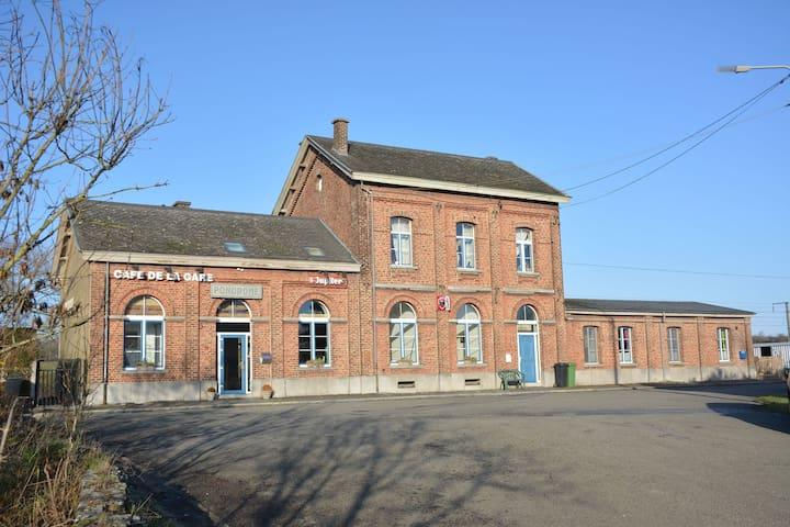 Old village train station, 5 bedrooms and 4 bathrooms, small garden