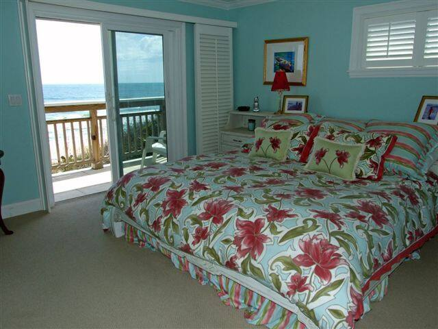 The Master Bedroom is private and overlooks the ocean and has a private deck, walk in closet and a TV