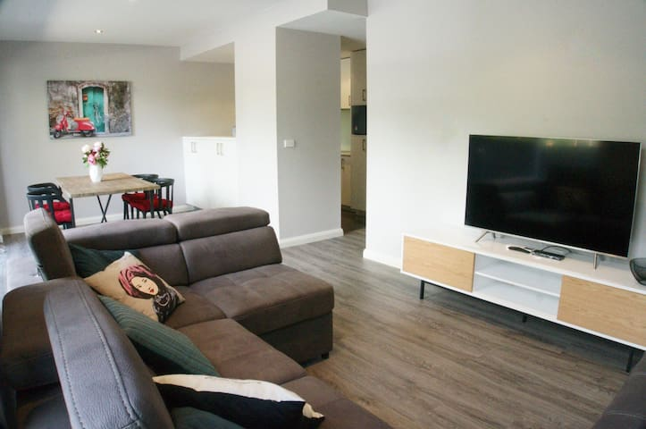 Clean and tidy contemporary 1 beddy with sofa bed