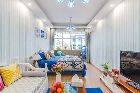 【路客】七折住美宿『蓝色海洋』泰山脚下|地中海风情|蓝色海洋世界|两室一厅|近天外村|近泰山站