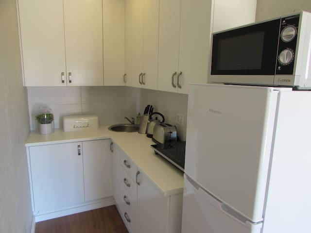 Kitchen with induction hob.